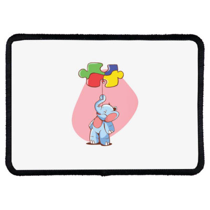 Elephant Balloon Puzzle Rectangle Patch Designed By Dirjaart