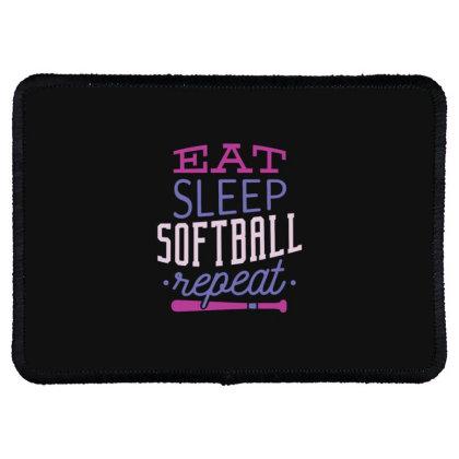 Eat Sleep Softball Repeat Rectangle Patch Designed By Dirjaart