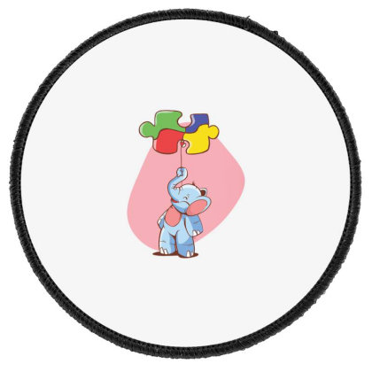 Elephant Balloon Puzzle Round Patch Designed By Dirjaart
