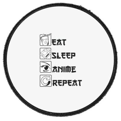 Eat Sleep Anime Repeat Round Patch Designed By Dirjaart