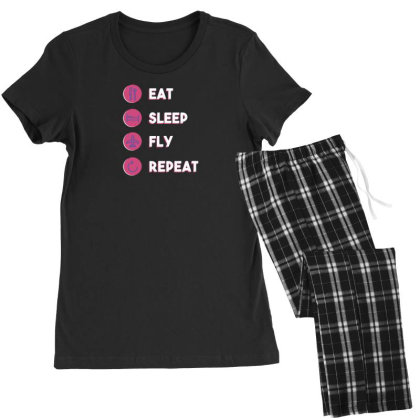 Eat Sleep Fly Repeat Women's Pajamas Set Designed By Dirjaart