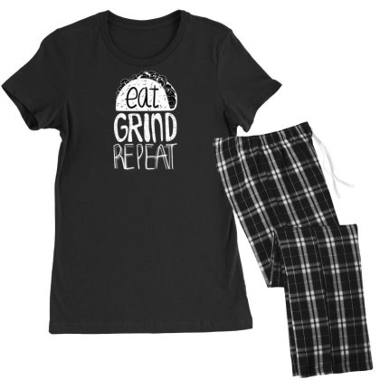 Eat Grind Repeat Women's Pajamas Set Designed By Dirjaart