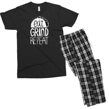 Eat Grind Repeat Men's T-shirt Pajama Set Designed By Dirjaart