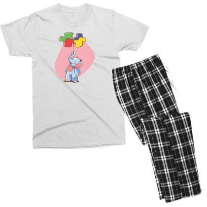 Elephant Balloon Puzzle Men's T-shirt Pajama Set Designed By Dirjaart