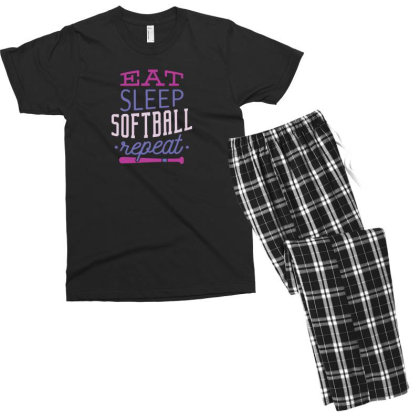 Eat Sleep Softball Repeat Men's T-shirt Pajama Set Designed By Dirjaart