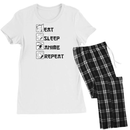 Eat Sleep Anime Repeat Women's Pajamas Set Designed By Dirjaart