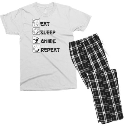 Eat Sleep Anime Repeat Men's T-shirt Pajama Set Designed By Dirjaart