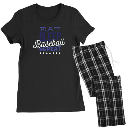Eat, Sleep, Baseball, Repeat Women's Pajamas Set Designed By Dirjaart