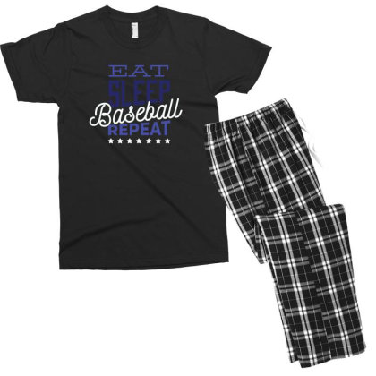 Eat, Sleep, Baseball, Repeat Men's T-shirt Pajama Set Designed By Dirjaart
