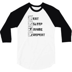 eat sleep anime repeat 3/4 Sleeve Shirt | Artistshot
