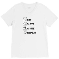 eat sleep anime repeat V-Neck Tee | Artistshot