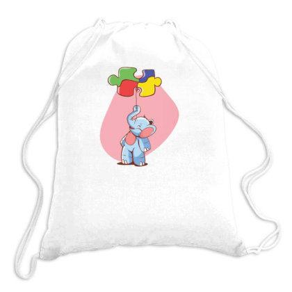 Elephant Balloon Puzzle Drawstring Bags Designed By Dirjaart