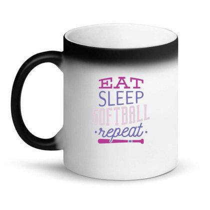 Eat Sleep Softball Repeat Magic Mug Designed By Dirjaart