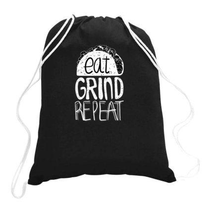 Eat Grind Repeat Drawstring Bags Designed By Dirjaart
