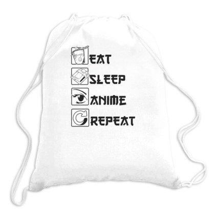 Eat Sleep Anime Repeat Drawstring Bags Designed By Dirjaart