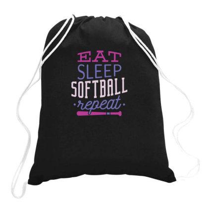 Eat Sleep Softball Repeat Drawstring Bags Designed By Dirjaart