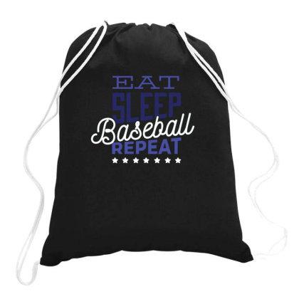 Eat, Sleep, Baseball, Repeat Drawstring Bags Designed By Dirjaart