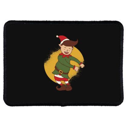 Elf Floss Dance Christmas Rectangle Patch Designed By Dirjaart