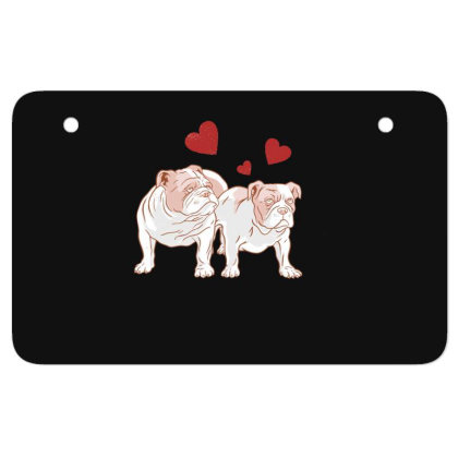 English Bulldog Couple Love Atv License Plate Designed By Dirjaart