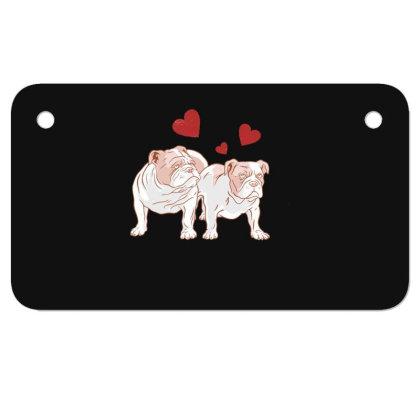 English Bulldog Couple Love Motorcycle License Plate Designed By Dirjaart