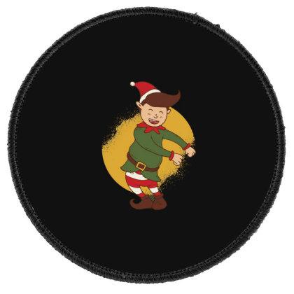 Elf Floss Dance Christmas Round Patch Designed By Dirjaart