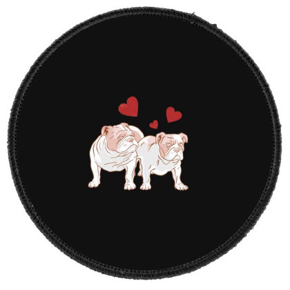 English Bulldog Couple Love Round Patch Designed By Dirjaart