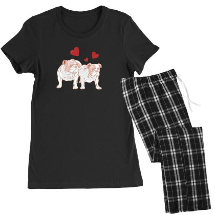 English Bulldog Couple Love Women's Pajamas Set Designed By Dirjaart