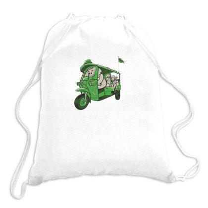 Elephant Taxi Drawstring Bags Designed By Dirjaart