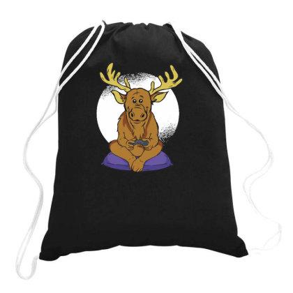 Elk Video Games Drawstring Bags Designed By Dirjaart
