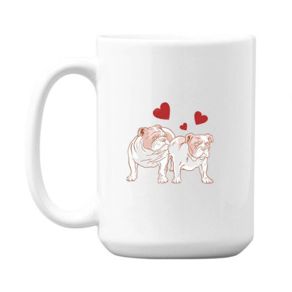 English Bulldog Couple Love 15 Oz Coffe Mug Designed By Dirjaart