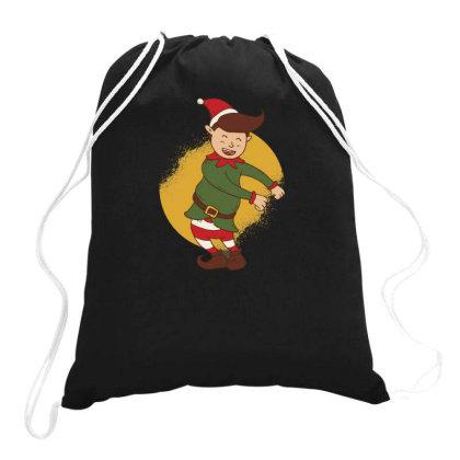 Elf Floss Dance Christmas Drawstring Bags Designed By Dirjaart