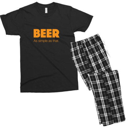 Beer As Simple As That Men's T-shirt Pajama Set Designed By H3lm1