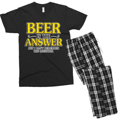 Beer Is The Answer Men's T-shirt Pajama Set Designed By H3lm1