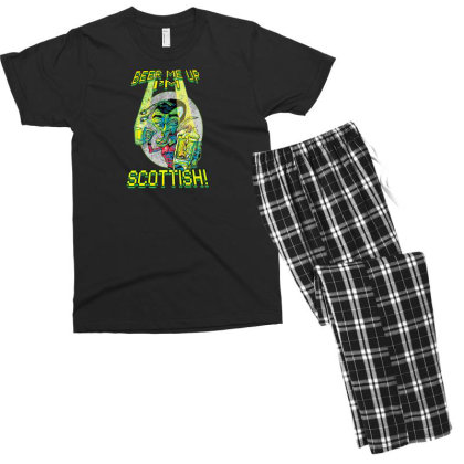 Beer Me Up I'm Scottish Not Irish Men's T-shirt Pajama Set Designed By H3lm1