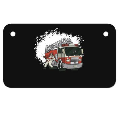 Fireman Truck Motorcycle License Plate Designed By Dirjaart