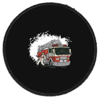 Fireman Truck Round Patch Designed By Dirjaart