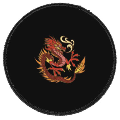 Fire Dragon Round Patch Designed By Dirjaart