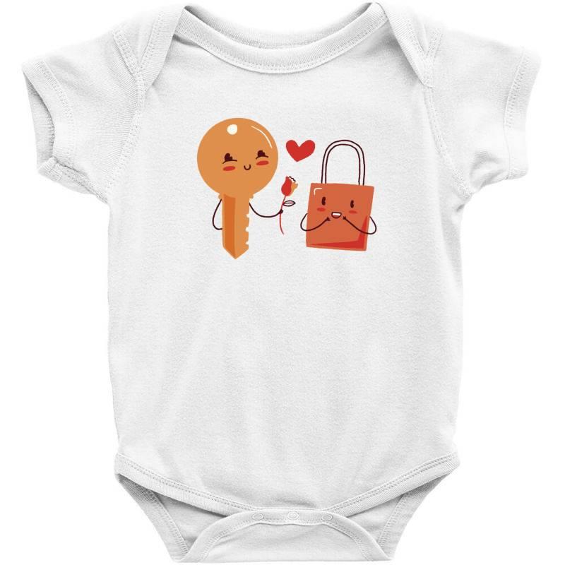 Custom Key And Lock Love Baby Bodysuit By Dirjaart