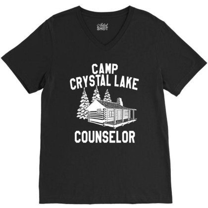 Camp Crystal Lake Counselor   For Dark V-neck Tee Designed By Green Giant