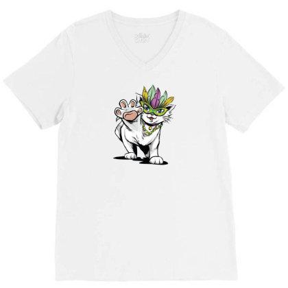 Mardi Gras Cat V-neck Tee Designed By Dirjaart