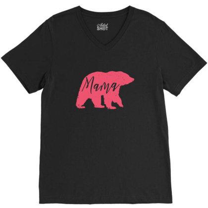 Mama Bear Animal Silhouette V-neck Tee Designed By Dirjaart