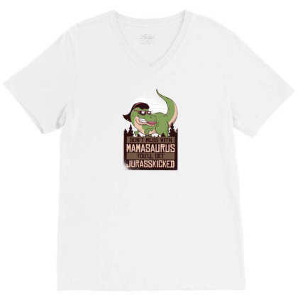 Mamasaurus Mom Dinosaur V-neck Tee Designed By Dirjaart