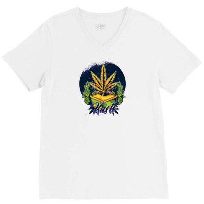 Marijuana Kush V-neck Tee Designed By Dirjaart