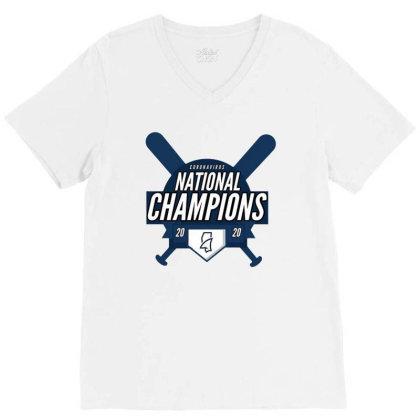 Baseball National Champions 2020 V-neck Tee Designed By Green Giant