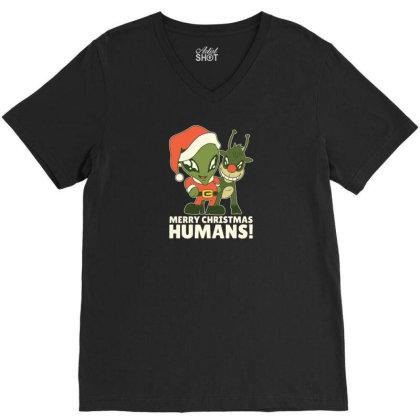 Merry Christmas Humans V-neck Tee Designed By Dirjaart
