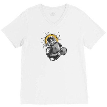 Monkey Dumbbell V-neck Tee Designed By Dirjaart