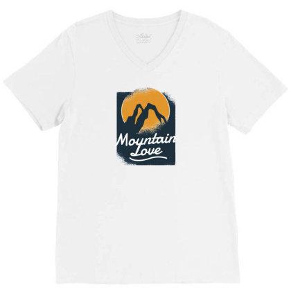 Mountain Love V-neck Tee Designed By Dirjaart