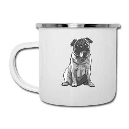 Pug Black And White Camper Cup Designed By Dirjaart