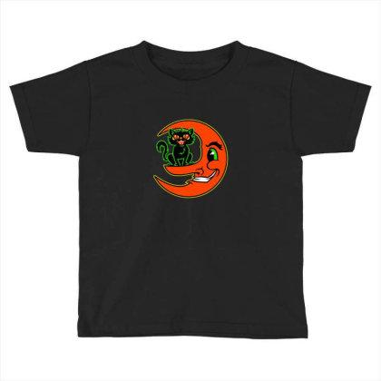 Black Cat Moon Toddler T-shirt Designed By Sr88