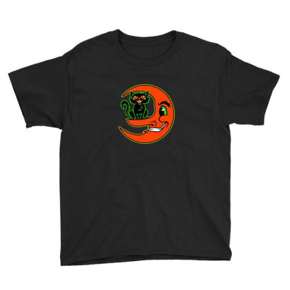 Black Cat Moon Youth Tee Designed By Sr88